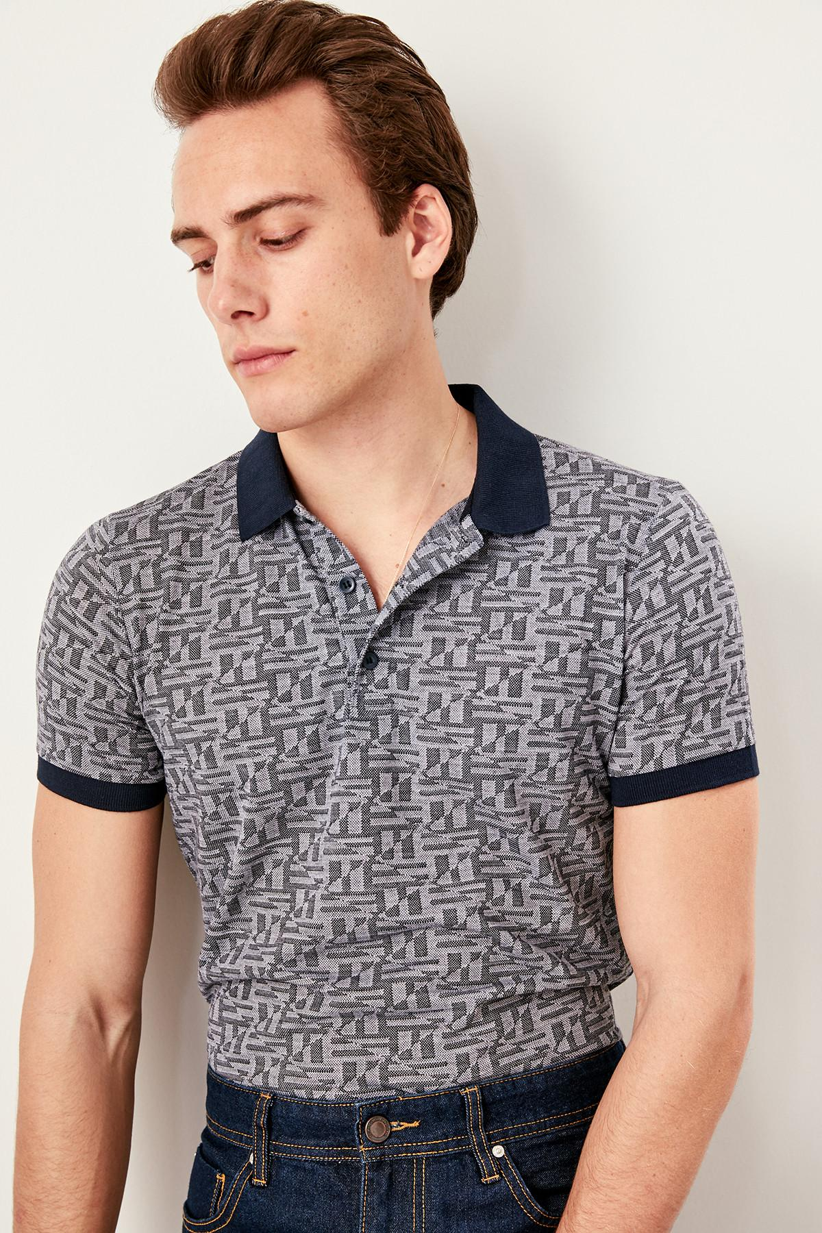 Selbstlos Trendyol Schwarz Jacquard Slim Fit Polo Neck T Shirt Tmnss19hd0019