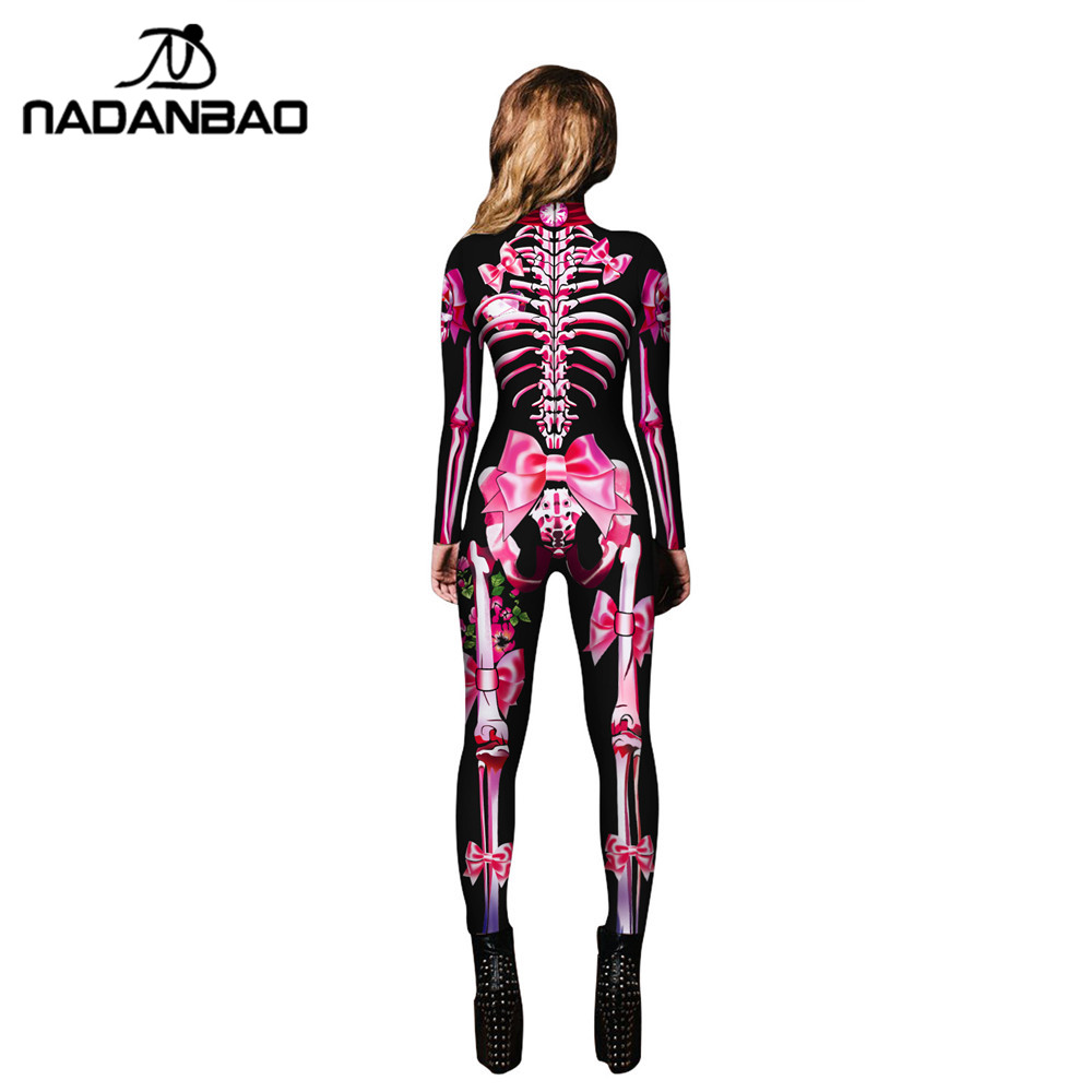 5e6a72aa719782 NADANBAO Neue 3D Drucken Rose Skeleton Kostüm Overall Scary Halloween  Kostüme Für Frauen Mechanische Schädel Plus Size Body ~ Perfect Sale June  2019