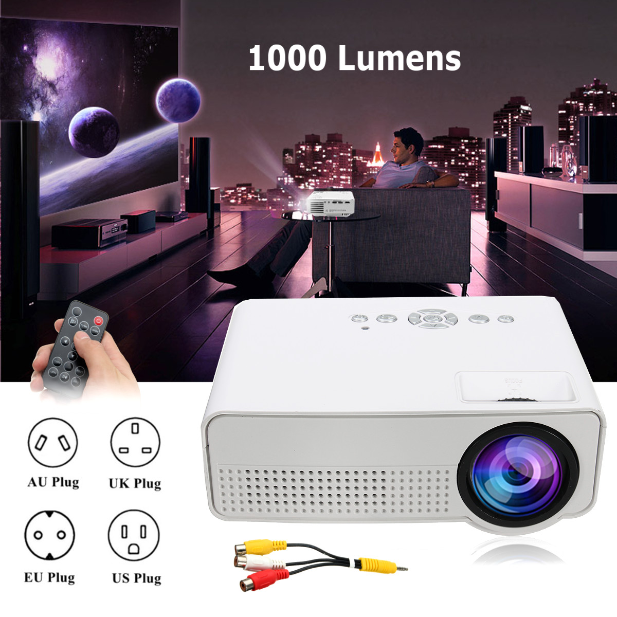 1000 LM 1080P TFT LCD Multimedia LED Lamp HDMI Portable Projector Home Cinema Theater1000 LM 1080P TFT LCD Multimedia LED Lamp HDMI Portable Projector Home Cinema Theater