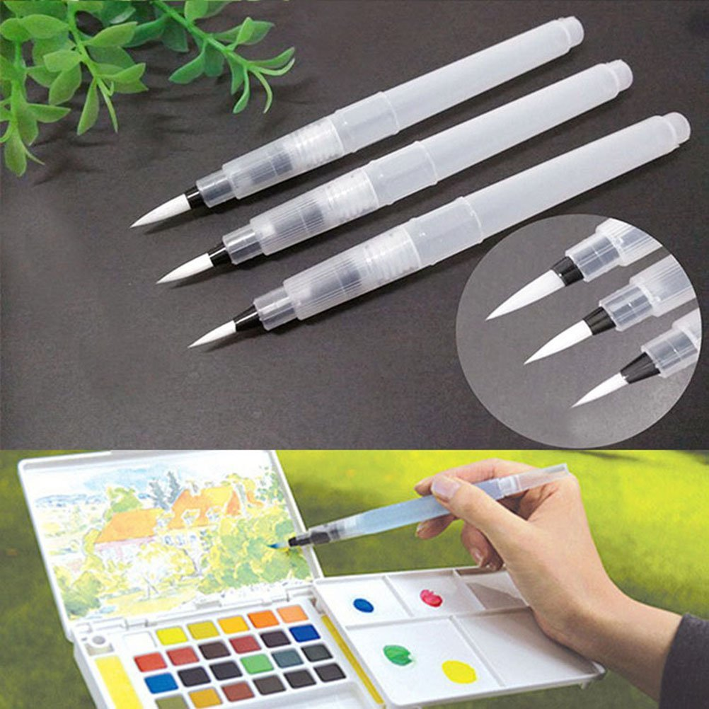 3 Pcs/Set Watercolor Brush Pen Water Paintbrush With Refillable Reservoir,Assorted Brush Tips