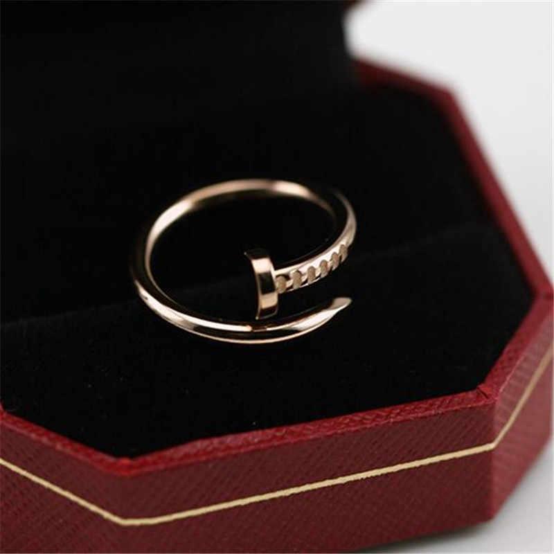 ใหม่เปิดสกรูแหวนเงินงานแต่งงานแหวนนิ้วมือสำหรับสุภาพสตรีแฟชั่นผู้หญิงเครื่องประดับรักแหวนของขวัญ