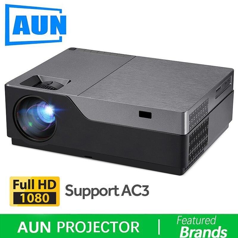 AUN Full HD Projecteur, 300 pouces Home Cinéma, 1920x1080 P projecteur led Soutien AC3. 5500 Lumens. (En option Android WIFI) M18