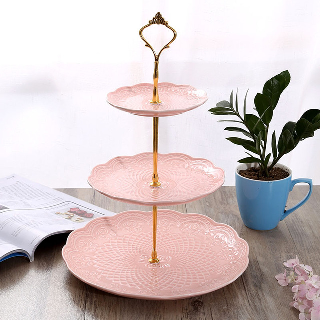 New Cake Stand Plate Bracket Metal 2 / 3 Layers Wedding Party Cake Plate Stand Cake Fruits Placed Tool  Silver Golden