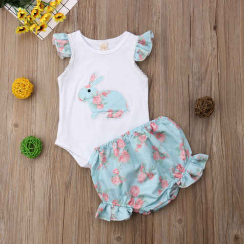 69e70217 Easter Newborn Baby Girl Strap Bunny Romper Tops + Floral Shorts Sleeveless  Party Costume 2pcs Outfits