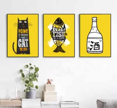 Nordic Modern Simple Oil Painting Cartoon Cat Catfish Frameless Decorative Painting Bar KTV Cafe Canvas Painting Picture Paris