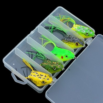 Frog Fishing Lures 5pcs/set Soft Silicone Topwater Floating Frog Artificial Bait Hollow Snakehead Frog Lure 5.5cm 12.8g