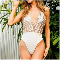 Women Sexy Backless Sequin Glitter Bodysuit Halter Neck Deep V Nightclub Dance Wear Patchwork Shiny Jumpsuit Swim Suit Rompers