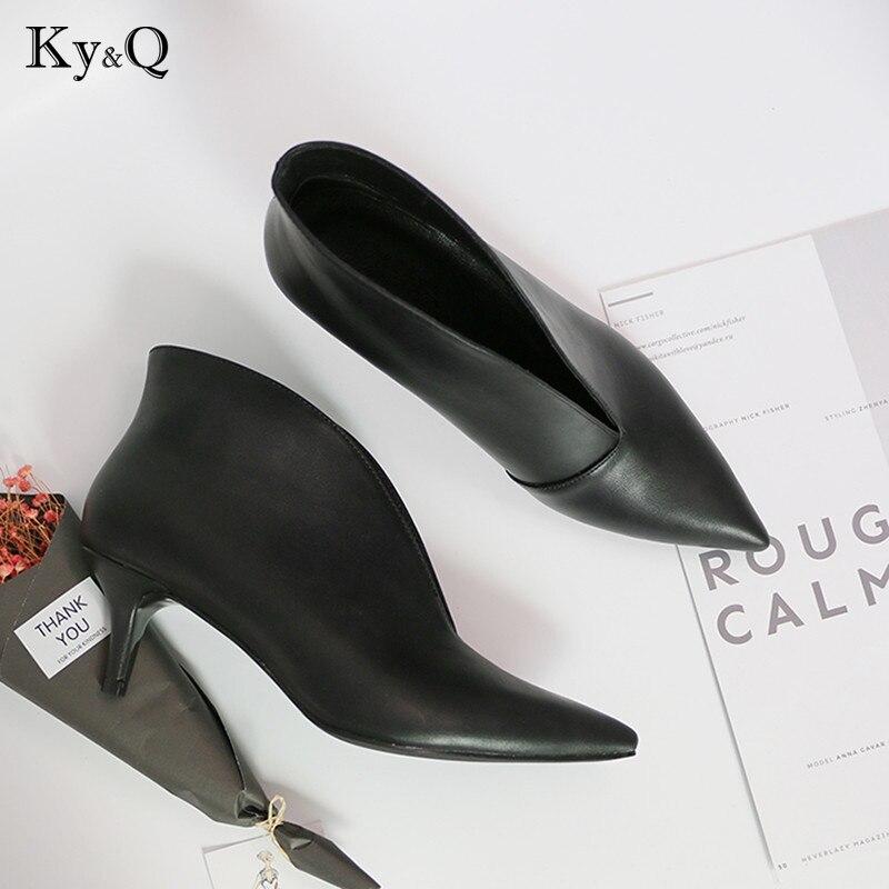 86874575115838 Bouche black À Chaussures V Automne Hauts Femme Pompes Mode Noir Cuir Mat  Nu Talons Tête ...