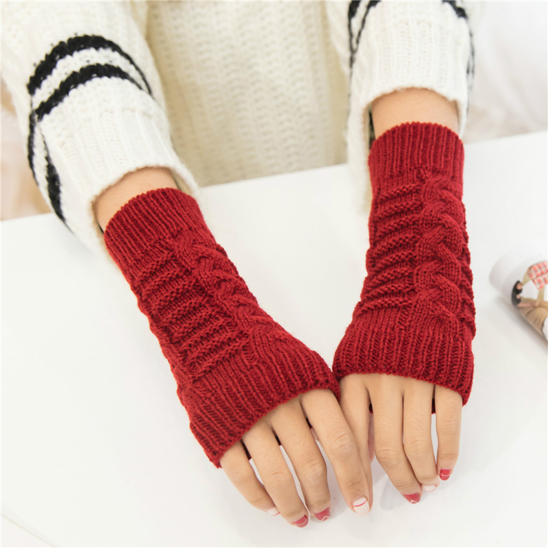 2018 Autumn Winter Women Gloves Fashion Wrist Arm Warmer Knitting Wool Long Fingerless Gloves Mitten Warm Female Guantes