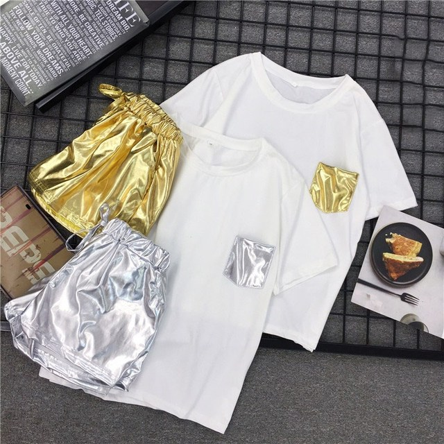 Women Hip Pop Style 2 Piece Set White T shirt Elastic Waist Casual Shorts Summer Tracksuits Sporting shiny Shorts Party Outfits