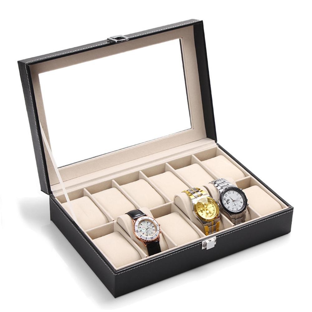 Mode Faux cuir 12 grilles bijoux anneau montres boîtier affichage boîte de rangement organisateur