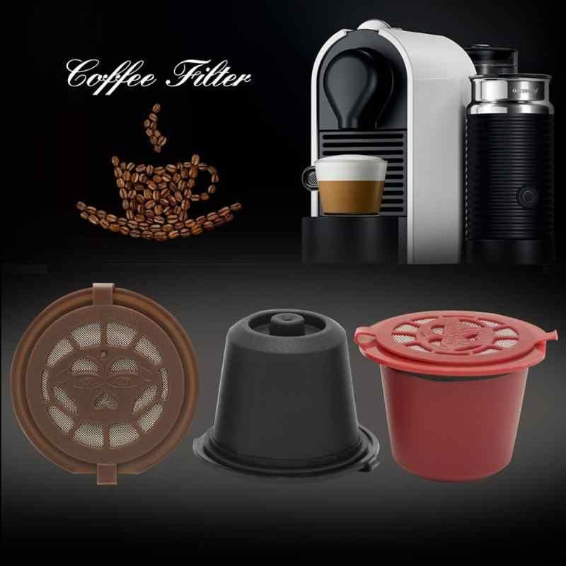 Placa de Oro DOMIRE Filtro Reutilizable 3-5g Grounds Caf/é C/ápsulas de caf/é de Acero-Lid para cafetera Nespresso Eco