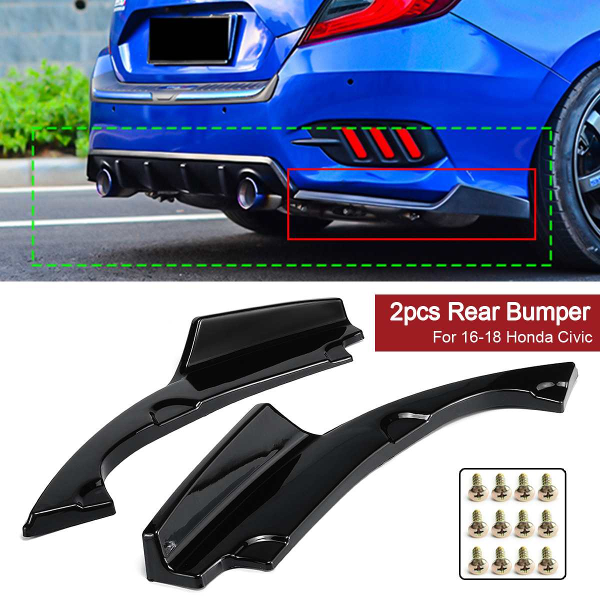 For 99-00 Honda Civic 3dr MUGEN Front lip+Front Grill+CTR Spoiler+THIN MOLDING