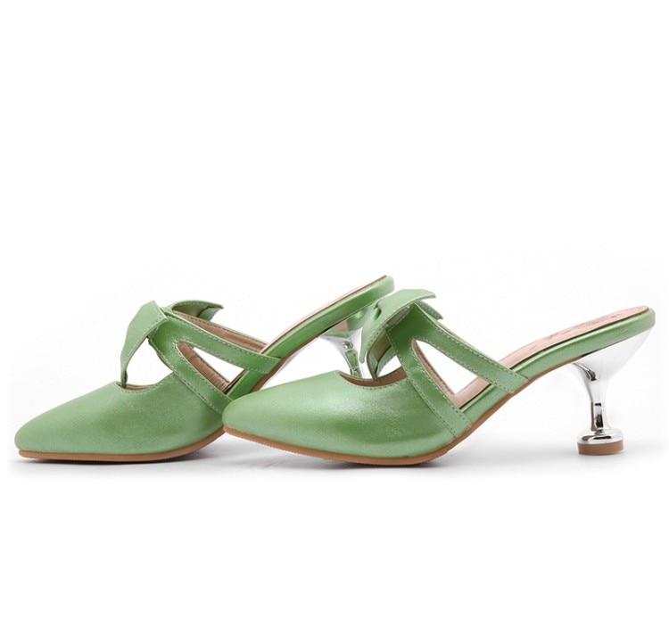 Mariposa Mujeres Zapatillas Diapositivas 528 verde Verano 47 Fuera Del 2019 Luz Alto Gran Tacón Cerrado Las Zapatos Tamaño rosado Claro De Dedo nudo 34 Pie Oro Verde wnHOqIHY