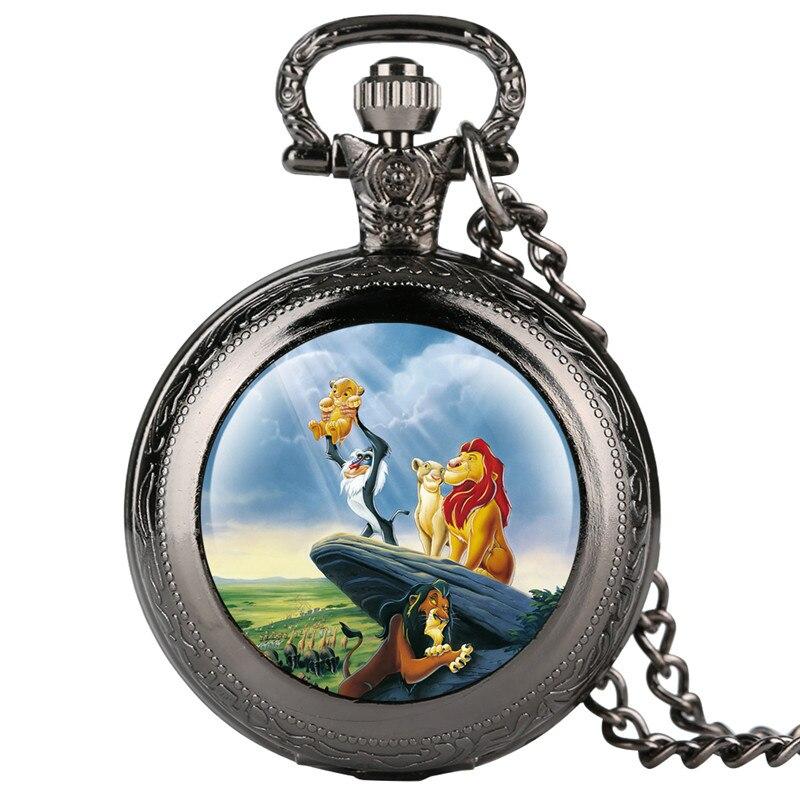 Reloj Mujer Fashion Kid's Pocket Watch Cartoon Lion Pattern Pocket Watches For Boy Creative Gift Retro Pocket Watch Necklace