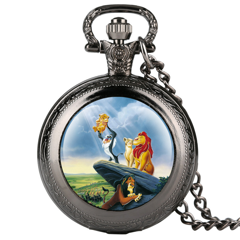 Reloj Mujer Lion Kid's Pocket Watch Cartoon Lion Pattern Pocket Watches For Boy Creative Gift Retro Pocket Watch Necklace
