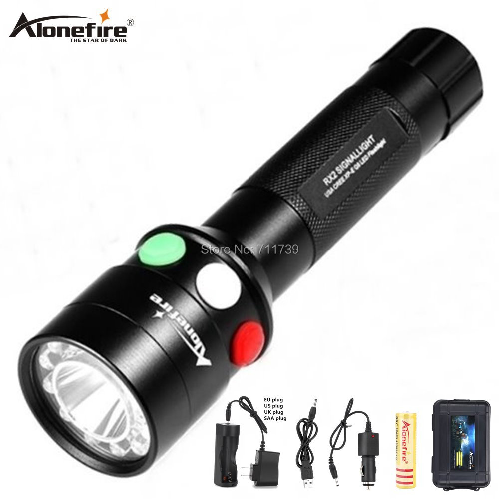 AloneFire RX2 White Red Green Railroad LED Tricolor Rechargeable Railway Signal Lamp Torch Flashlight Railroad Lantern