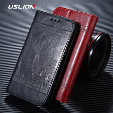 USLION Flip Wallet Leather Case For iPhone 6 7 8 Plus X XR XS Max Retro 3D Print Flower Luxury Phone Case Full Cover Bags Coque(China)