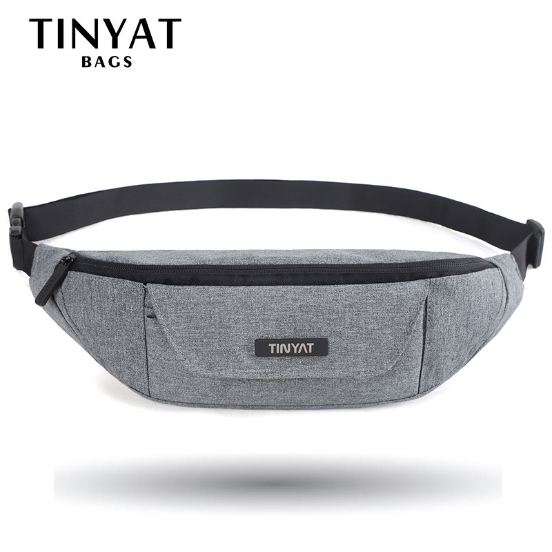 TINYAT Men Waist Bag Functional Waist Pack Casual Belt Bag Pouch For Phone Money 3 Pockets Large Canvas Bag For Belt Grey