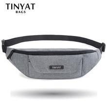 TINYAT Мужская поясная сумка функциональная поясная сумка Повседневная поясная сумка для телефона деньги 3 кармана большой ремень пакет холст сумка серый