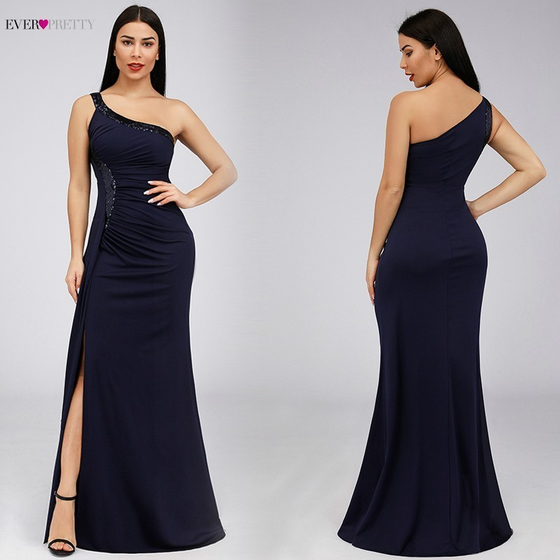 Sequined Evening Dresses Ever Pretty EP07869NB One Shoulder Mermaid Sparkle Sexy High Split Dubai Elegant Formal Long Dresses