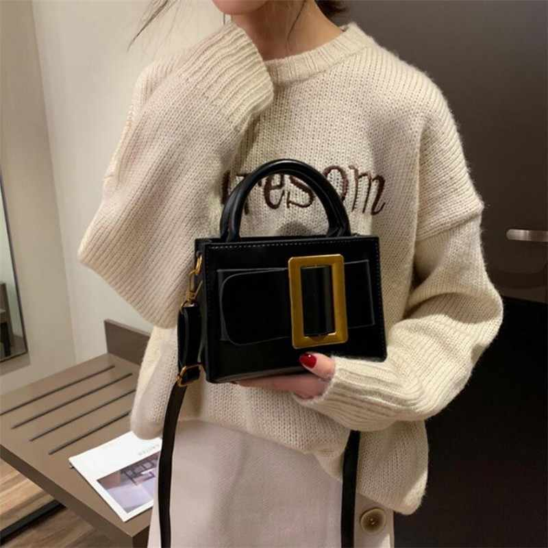 Belt Buckle Tote Bags For Women 2019 Luxury Handbags Women Bags Designer High Quality PU Leahter Handbags Small Black Brown SAC
