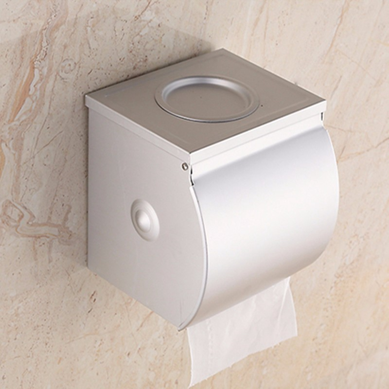 Aluminum Wall Mounted  Waterproof Bathroom Toilet Paper Holder Roll Tissue Box With Ashtray Hotel Restaurant Paper Tissue Rack