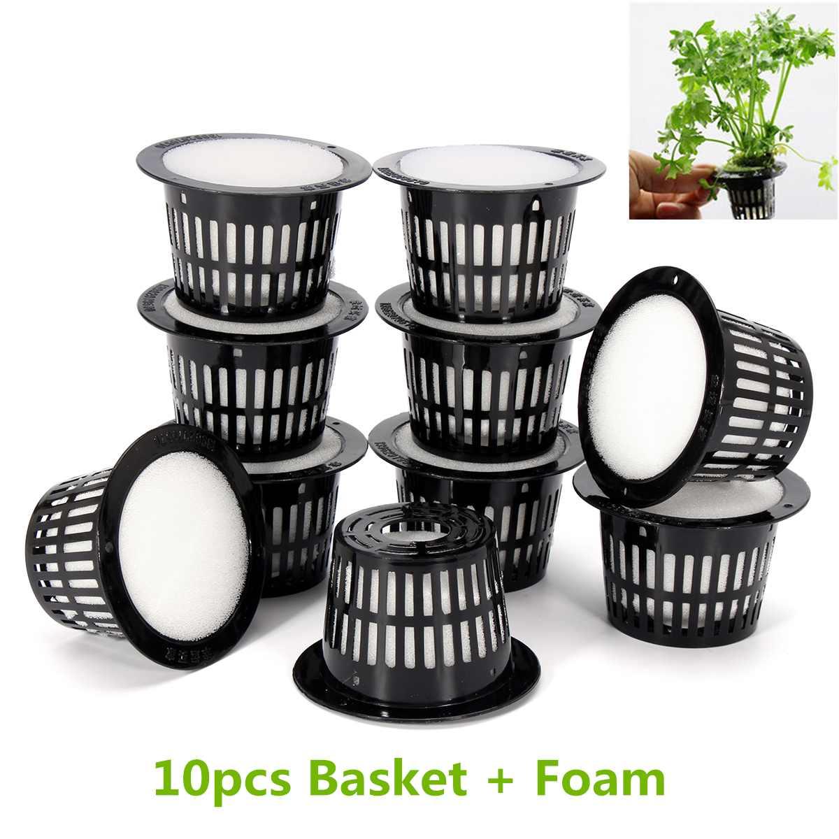 10Pcs Mesh Pot Net Cup Basket Hydroponic System Garden Plant Grow Vegetable Cloning Foam Seed Germinate Nursery Pots 2 Size