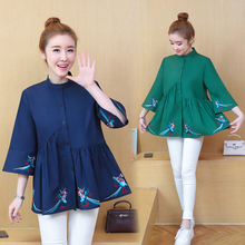 Peplum Top Korean Fashion Casual Women Long Shirt 2019 Spring Summer Half Sleeve Stand Collar Embroidery Plus Size Blouses 5XL
