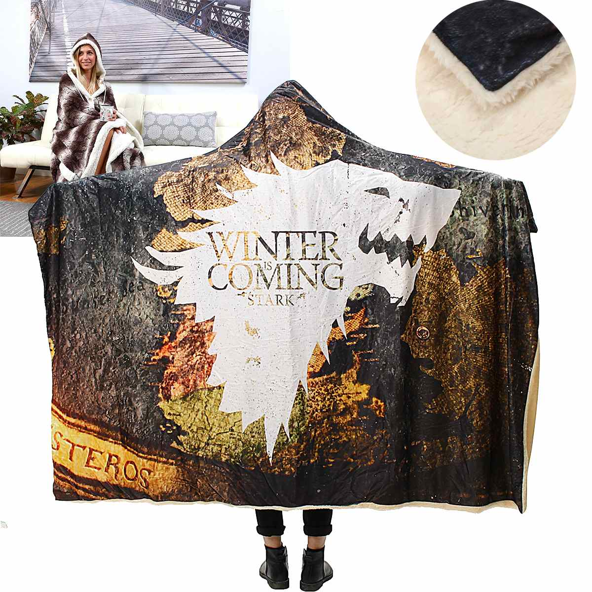 Game Of Thrones Bettwäsche 150x200 130x150cm Hooded Blanket Plush Blanket Warm Wearable Bed