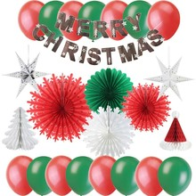 Pack Of 19pcs Christmas Decorations For Home With Merry Banner Snowflake Paper Fans Star Lantern New Year Decor