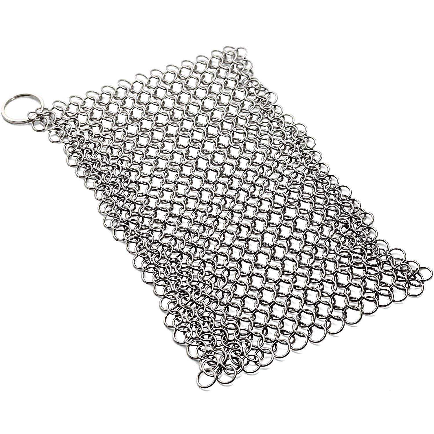 8Inch X 6Inch  Stainless Steel Cast Iron Cleaner 316L Chainmail Scrubber For Cast Iron Pan Pre-Seasoned Pan Dutch Ovens Waffle