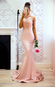 Mermaid Halter Off Shoulder Pink Prom Dresses Backless Appliques Lace Formal Party Gown 1
