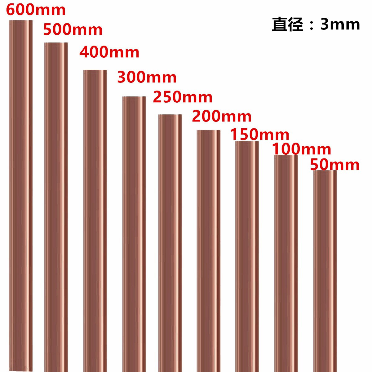 <font><b>3mm</b></font> Diameter Copper Round Bar <font><b>Rod</b></font> Milling Welding Metalworking 50-500mm Length image