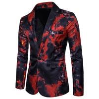 Blazer Masculino 2019 New Style Red and Blue Flame Prints Suit Men Fashion Casual Tuxedo Costume Blazer Men Coat
