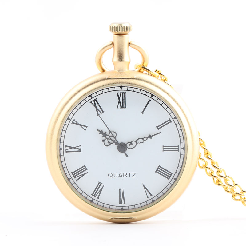 Pocket & Fob Watches Vintage  Gold Color Smooth Quartz Pocket Watch Necklace  Watch with Necklace