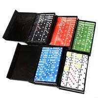 28 PCS Color Dot Dominoes Set Simple Boxed Fun Plastic Domino Toy Casual Game Card For Home Family Traveling Random Color