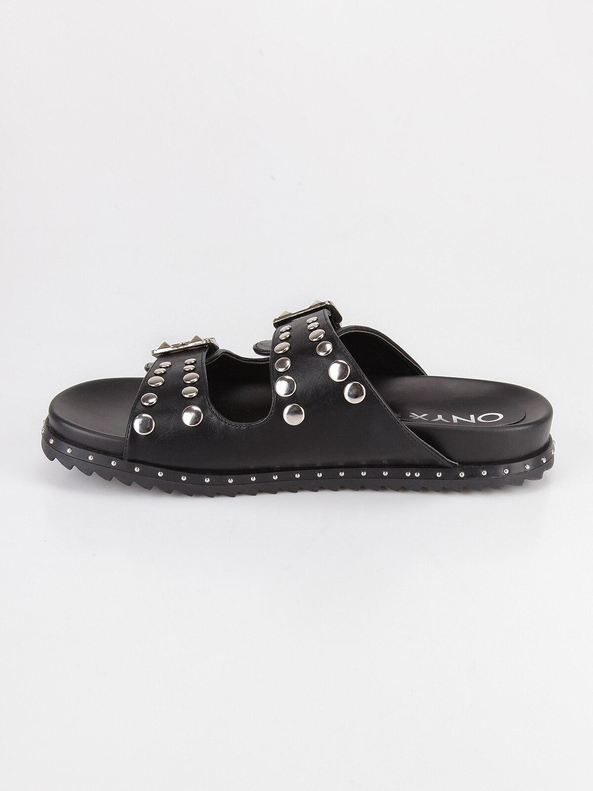 Boucle Double Pantoufles Plat Noir Avec qfcRPvwS