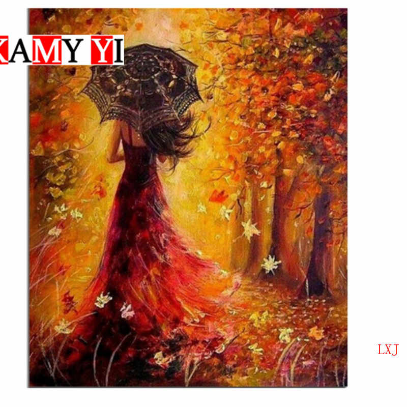 5D DIY เย็บปักถักร้อยเพชรสีแดงสาวภายใต้สีแดงเมเปิ้ลใบ Cross-Stitch เพชร Mosaic ตกแต่งบ้านภาพวาดเพชร LXJ
