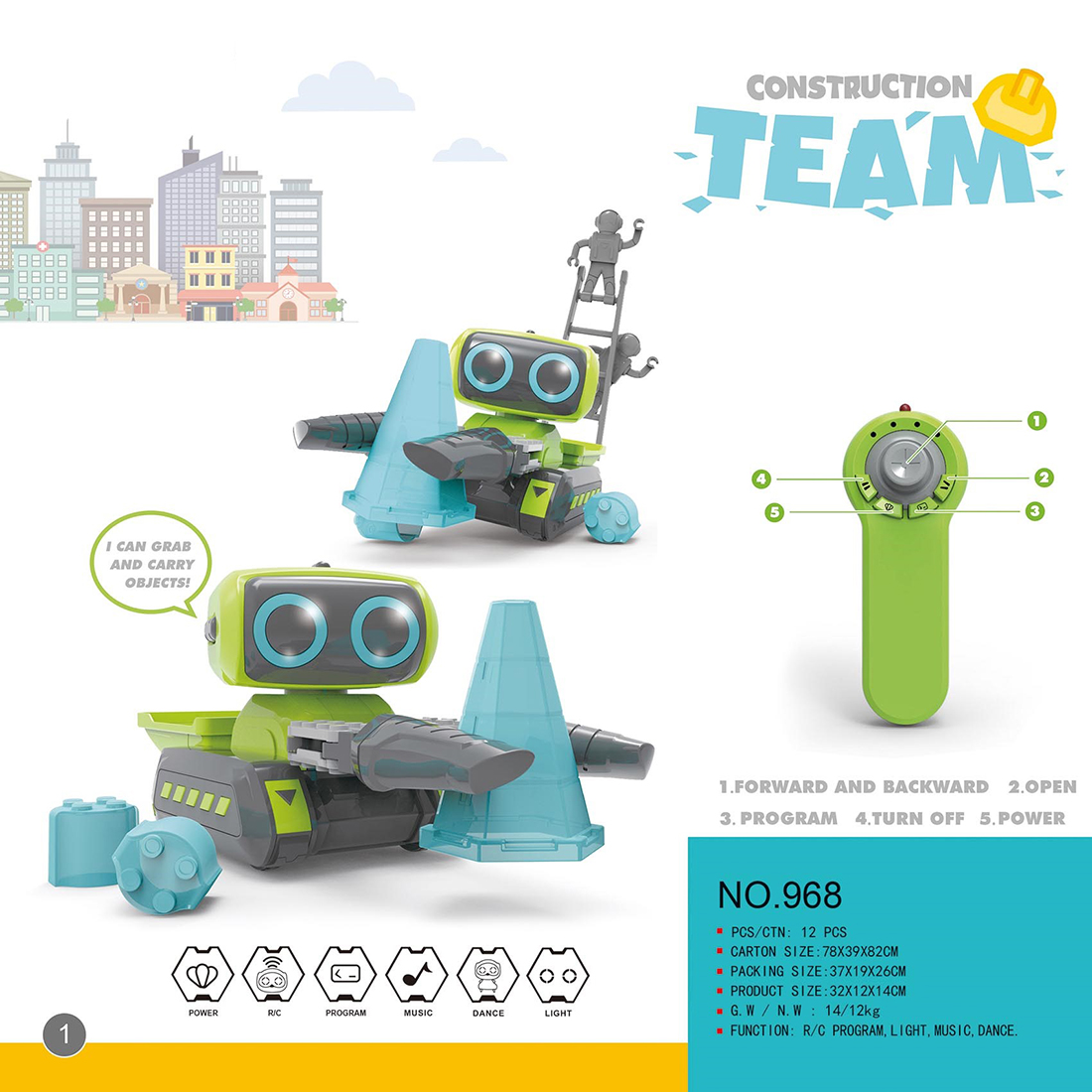 Modiker High Tech Toy Smart Programming RC Robot Engineering Bulldozer Forklift Assembly Indoor Toy for Children