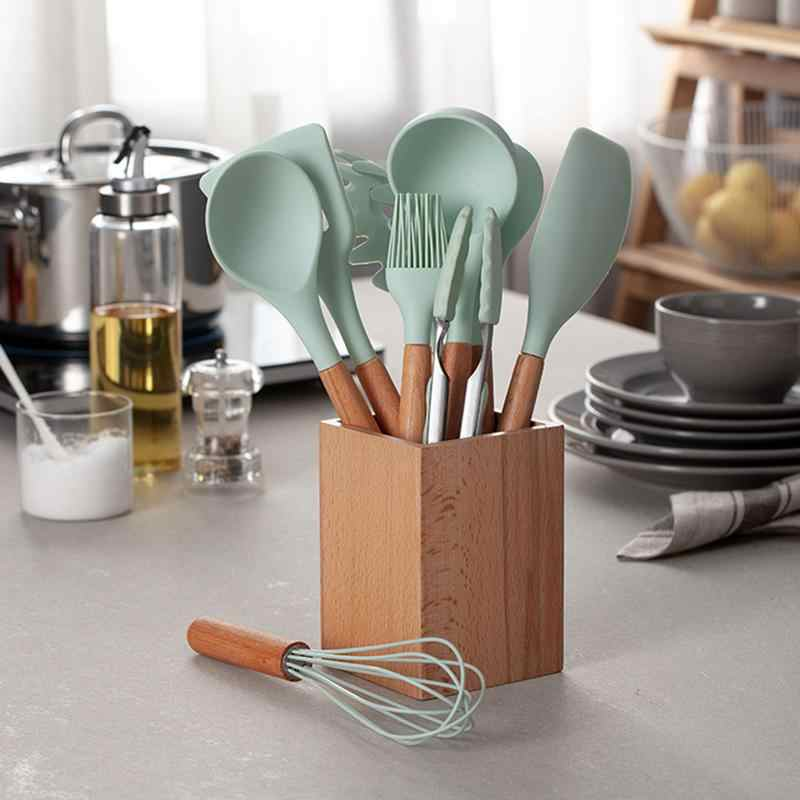 9 10 Piece Set Silicone Kitchenware Set Fresh Blue Wooden Storage Tube Furniture Kitchen Utensils Spatula Soup Spoon Set Cooking Tool Sets Aliexpress