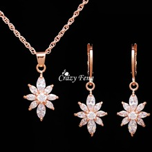 New Zircon Crystal Pendant Necklace Earrings Bridal Jewelry Set Party Luxury Jewellery