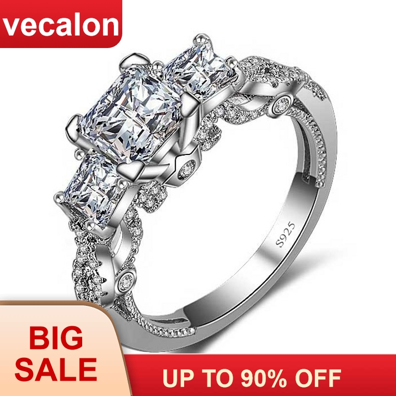 Vecalon Romantic Vintage Female ring Three-stone AAAAA Zircon cz 925 Sterling Silver Engagement wedding Band ring for womenVecalon Romantic Vintage Female ring Three-stone AAAAA Zircon cz 925 Sterling Silver Engagement wedding Band ring for women