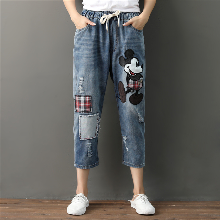 Embroidered Mickey Mouse Jeans Woman Ripped Boyfri