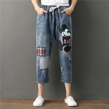 Embroidered Mickey Mouse Jeans Woman Ripped Boyfriend Jeans For Women Mom Distressed Patchwork Baggy Jeans Elastic Denim Pants