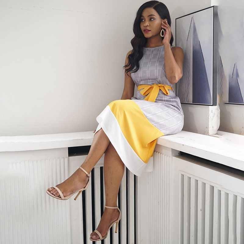 Африканский Для женщин Офисные женские туфли работы Дата партия ретро платье серые клетчатые цвет: желтый, белый лоскутное Пояса опрятный Шикарный Сладкий миди длинные платья