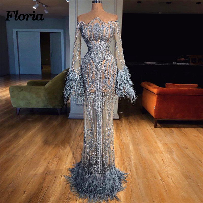 African Beading   Evening     Dresses   with Long Sleeve Robe de soiree abiye gece elbisesi Dubai Turkish Sexy Feather Formal Prom   Dress