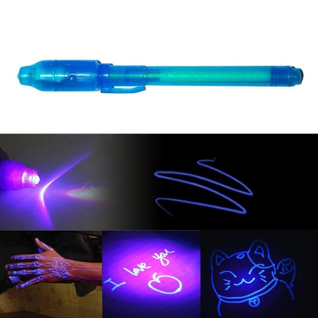 2 in 1 Luminous Light Invisible Ink Pen UV Check Money Light Toy Kids Drawing Secret Magic Pens Children Glow in the Dark Toys