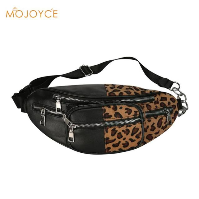 Street PU Leather Waist Pack Bag for Women Fashion Girls Fanny Pack Leopard Zebra Pattern Shoulder Chest Belt Bags Pouch 2018
