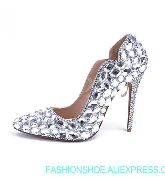 Mariage Chaussures Pompes Femmes Hauts Pointu Strass Mode Femme Cristal Diamants De Talons Woma Bout Argent SPOAaq